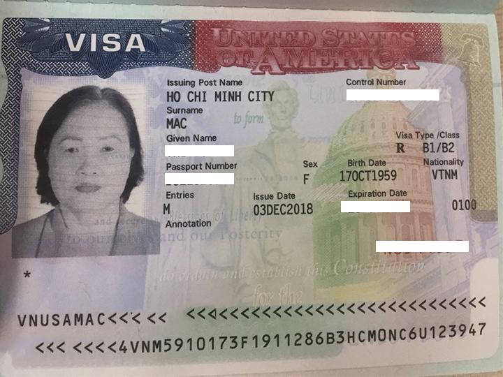 Khách hàng của Vietmytravel đậu Visa Mỹ với Passport trắng.